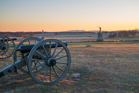 Cannons at Sunset on Gettysburg National Battlefield Stock Photo