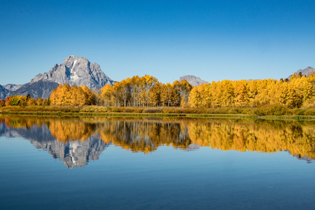 Morning light along Oxbow Bend in Grand Teton National Park, Wyoming Stock Photo