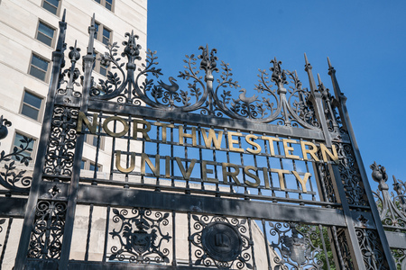 CHICAGO, ILLINOIS, USA - SEPTEMBER 18, 2016:  Elaborate iron gate entry on the Chicago campus of Northwestern University in Chicago, Illinois.