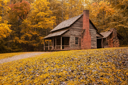 GATLINBURG, TN - OCT 8: Autumn at the Henry Whitehead Cabin in Great Smoky Mountains National Park, Tennessee on October 8, 2017.