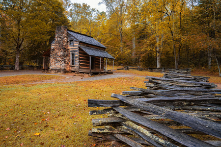 GATLINBURG, TN - OCT 8: Autumn at the John Oliver Cabin in Cades Cove in Great Smoky Mountains National Park, Tennessee on October 8, 2017. Editorial
