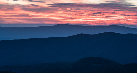 Sunset over the Blue Ridge Mountains in Shenandoah National Park in Virginia Stock Photo