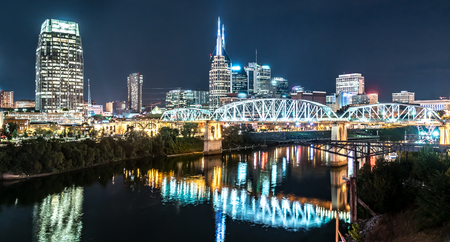 Nashville night skyline along the Cumberland river from the Korean Veterans Blvd bridge Stock Photo