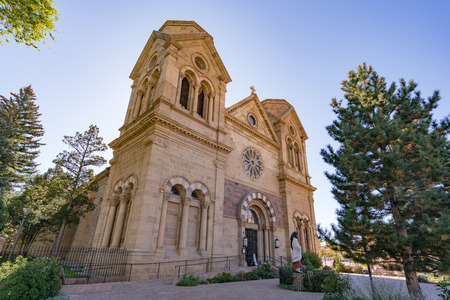 SANTA FE, NM - OCTOBER 13: Historic Cathedral Basilica of St Francis Assisi in Santa Fe, New Mexico on October 13, 2017