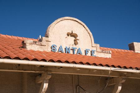 SANTA FE, NM - OCTOBER 13: Santa Fe sign at the entrance to the historic Santa Fe train station on October 13, 2017