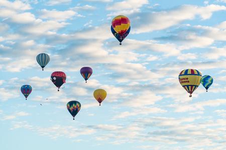 ALBUQUERQUE, NM - OCTOBER 13: Ballons fly over Albuquerque during Albuquerque Ballon Festival on October 13, 2017