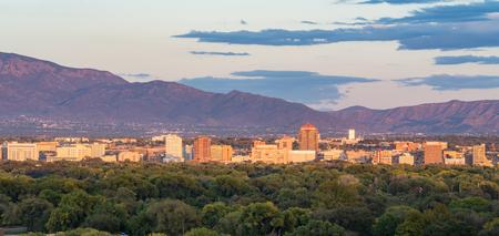 ALBUQUERQUE, NM - OCTOBER 12: Albuquerque, New Mexico Skyline at sunset on October 12, 2017 Editorial
