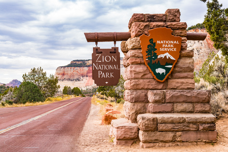 SPRINGDALE, UTAH - OCTOBER 19, 2017: Entrance sign to Zion National Park in Springdale, Utah