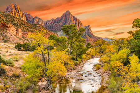 Sunset at Watchman  peak along the Virgin river in Zion National Park, Utah Imagens