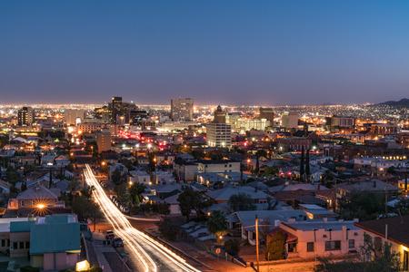 EL PASO, TX - OCTOBER 26, 2017: Night skyline of El Paso, Texas