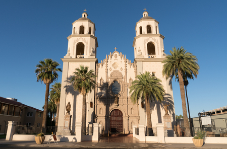 TUCSON, AZ - OCTOBER 26, 2017: Beautiful exterior of the historic St Augustine Cathedral in Tucson, Arizona