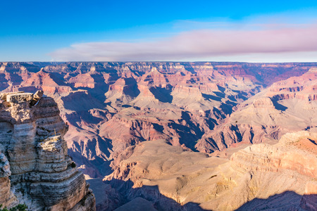Scenic View of the Grand Canyon, Arizona while smoke from forest fire fill the sky