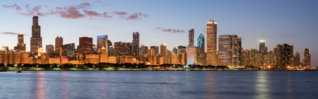 CHICAGO, IL - SEPTEMBER 17, 2017: Chicago Skyline at dusk across Lake Michigan