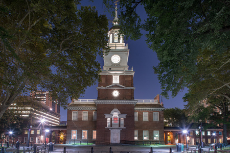 Independence Hall at night in Independence National Historic Park, Philadelphia, Pennsylvania Editorial