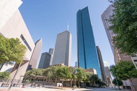 HOUSTON, TX - OCTOBER 29, 2017: Downtown Houston, Texas city skyline from Lamar Street Editorial