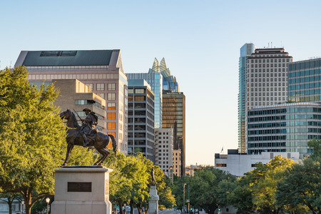 AUSTIN, TX - OCTOBER 28, 2017: Statue and skyline of downtown Austin, Texas Editorial