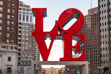 PHILADELPHIA, PA - MARCH 10, 2018: Newly restored LOVE sculpture in Love Park in Philadelphia, Pennsylvania