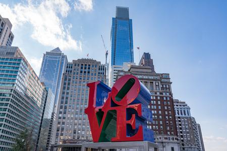 PHILADELPHIA, PA - MARCH 10, 2018: Newly restored LOVE sculpture in Love Park in Philadelphia, Pennsylvania