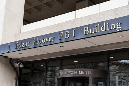 WASHINGTON, DC - MARCH 14, 2018: Front facade of the J. Edgar Hoover FBI Building in Washington DC Editorial
