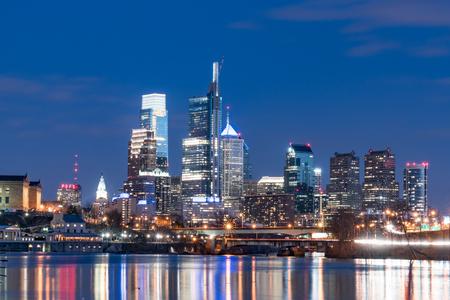 PHILADELPHIA, PA - MARCH 10, 2018: Philadelphia city skyline at night along the Schuylkill River