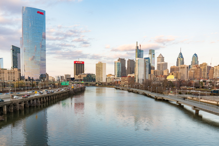 PHILADELPHIA, PA - MARCH 10, 2018: Philadelphia city skyline along the Schuylkill River from the South Street Bridge Editorial