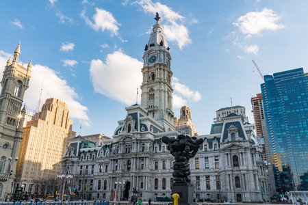 PHILADELPHIA, PA - MARCH 10, 2018: Historic City Hall building in downtown Philadelphia, Pennsylvania
