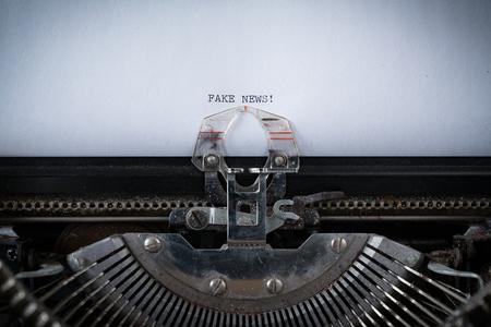 The phrase Fake News typed on an old Typewriter