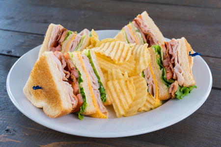 Sliced Triple Decker Turkey Club Deli Sandwich on a Plate with Potato Chips