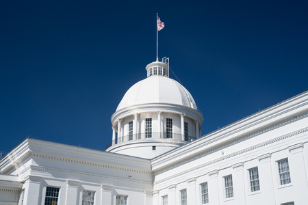 State Flag on the dome of the Alabama State Capitol Building in Montgomery, Alabama