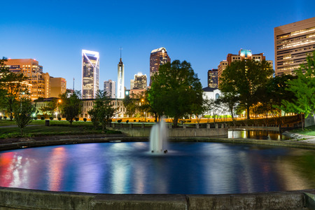 City skyline of Charlotte North Carolina from Marshall Park
