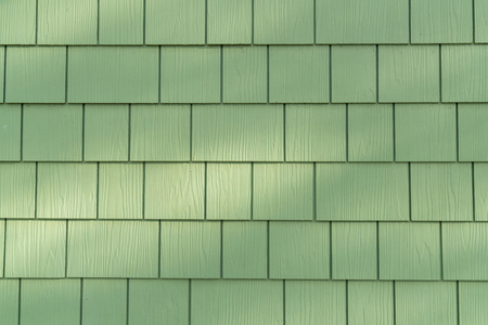 Background of Wall with Green Cedar Shingles Archivio Fotografico - 102188573