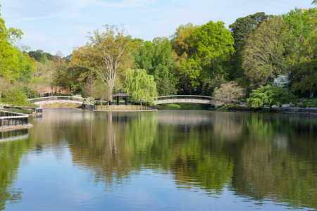 Bridges Over Lake in Pullen Park in Raleigh, North Carolina