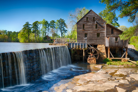 Historische Yates-watermolen in Raleigh, North Carolina