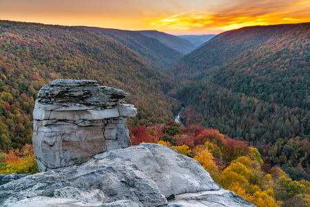 Sunset at Lindy Point over Blackwater Canyon in Blackwater Falls State Park, West Virginia Stock Photo