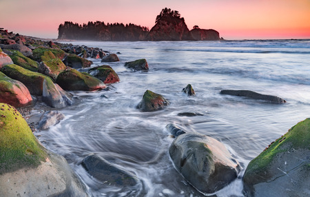 Rialto Beach at sunset along the Penninsula, Washington