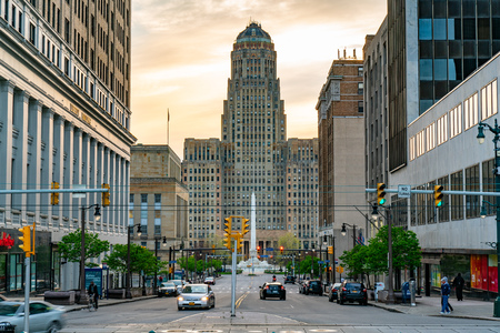 BUFFALO, NY - MAY 15, 2018: Looking down Court Street towards the Buffalo City Building and McKinley Monument in downtown Buffalo, New York