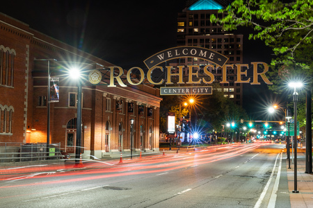 ROCHESTER, NY - MAY 14, 2018: Welcome to Rochester sign along South Clinton Avenue in downtown Rochester, New York