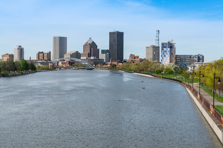 ROCHESTER, NY - MAY 14, 2018: Skyline of Rochester, New York along  Genesee River