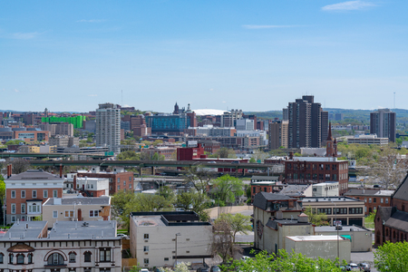 SYRACUSE, NY - MAY 14, 2018:  Daytime skyline of Syracuse, New York Editorial