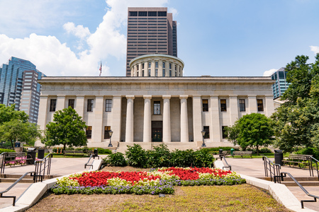 Facade of Ohio Capital building in downtown Columbus, Ohio