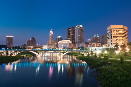 Columbus, Ohio City night skyline along the Scioto River Stock Photo
