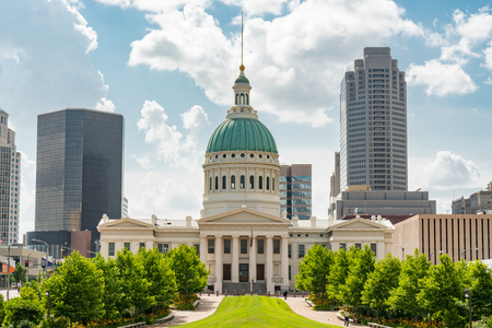 ST LOUIS, MO: Historic Old St Louis County Courthouse and the St Louis city skyline. Stock Photo