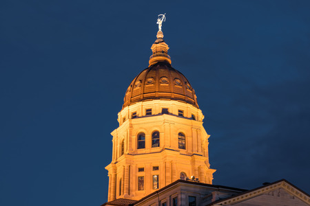 Dome of the Kansas State Capital Building in Topeka, Kansas at night