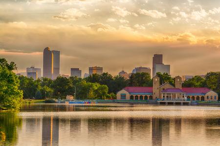 Denver Skyline at Sunset over Ferril Lake in City Park Stock Photo