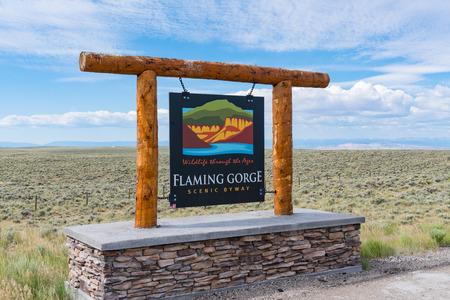 VERNAL, UT - JUNE 23, 2018: Flaming Gorge Scenic Byway Sign along the highway in Utah