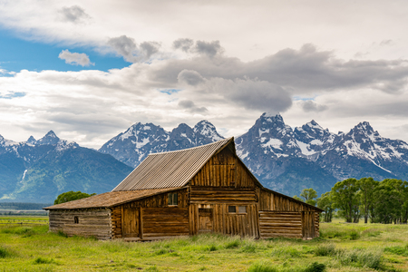 Historic T.A. Moulton Barn along Mormon Row in Grand Teton National Park, Wyoming Stock Photo