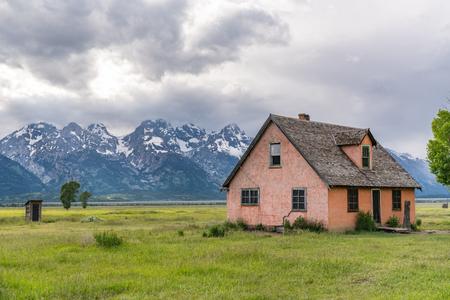 Historic John Moulton Homestead along Mormon Row in Grand Teton National Park, Jackson, Wyoming