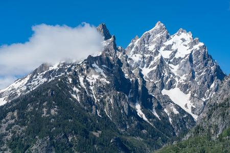 Peaks of the Teton Mountain range in Grand Teton National Park, Wyoming 版權商用圖片