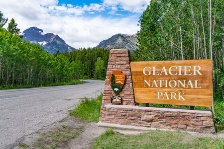 BABB, MT - JUNE 26, 2018: Welcome sign at the entrance to Glacier National Park, Montana