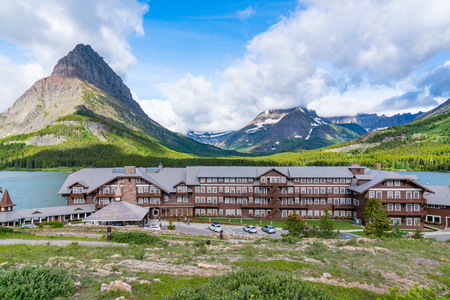 MANY GLACIER, MT - JUNE 30, 2018: Many Glacier Lodge on the shores of Swift Current Lake in Glacier National Park, Montana Editorial